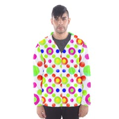 Multicolored Circles Motif Pattern Hooded Wind Breaker (men)