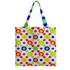 Multicolored Circles Motif Pattern Zipper Grocery Tote Bag
