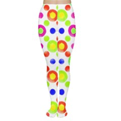 Multicolored Circles Motif Pattern Women s Tights