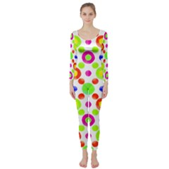 Multicolored Circles Motif Pattern Long Sleeve Catsuit