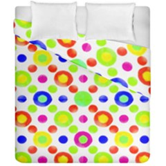 Multicolored Circles Motif Pattern Duvet Cover Double Side (california King Size)