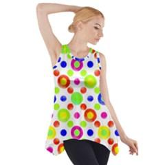 Multicolored Circles Motif Pattern Side Drop Tank Tunic