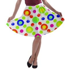 Multicolored Circles Motif Pattern A Line Skater Skirt