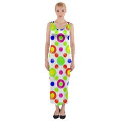 Multicolored Circles Motif Pattern Fitted Maxi Dress