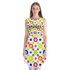 Multicolored Circles Motif Pattern Sleeveless Chiffon Dress