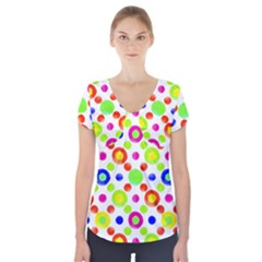 Multicolored Circles Motif Pattern Short Sleeve Front Detail Top