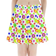 Multicolored Circles Motif Pattern Pleated Mini Skirt