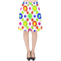 Multicolored Circles Motif Pattern Velvet High Waist Skirt