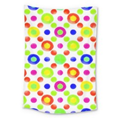 Multicolored Circles Motif Pattern Large Tapestry