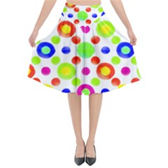 Multicolored Circles Motif Pattern Flared Midi Skirt