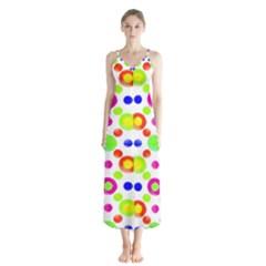 Multicolored Circles Motif Pattern Button Up Chiffon Maxi Dress