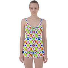 Multicolored Circles Motif Pattern Tie Front Two Piece Tankini