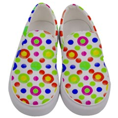 Multicolored Circles Motif Pattern Men s Canvas Slip Ons