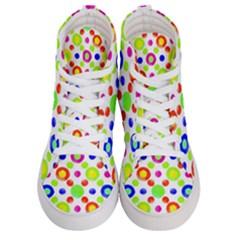 Multicolored Circles Motif Pattern Women s Hi Top Skate Sneakers