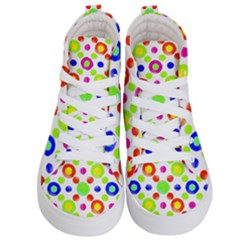 Multicolored Circles Motif Pattern Kid s Hi Top Skate Sneakers