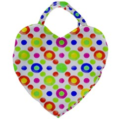 Multicolored Circles Motif Pattern Giant Heart Shaped Tote