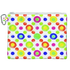 Multicolored Circles Motif Pattern Canvas Cosmetic Bag (xxl)