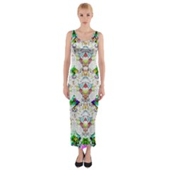 Nine Little Cartoon Dogs In The Green Grass Fitted Maxi Dress