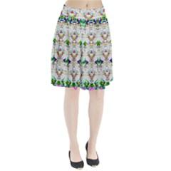Nine Little Cartoon Dogs In The Green Grass Pleated Skirt