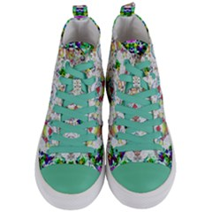 Nine Little Cartoon Dogs In The Green Grass Women s Mid Top Canvas Sneakers