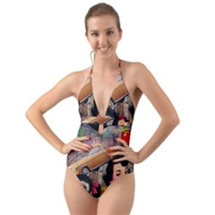 Out In The City Halter Cut Out One Piece Swimsuit