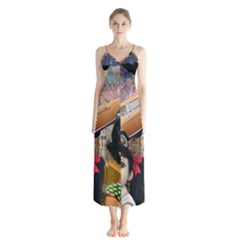 Out In The City Button Up Chiffon Maxi Dress