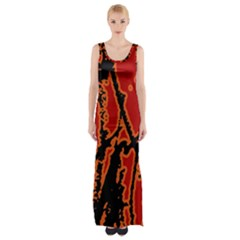 Vivid Abstract Grunge Texture Maxi Thigh Split Dress