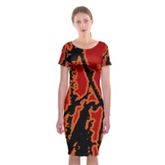 Vivid Abstract Grunge Texture Classic Short Sleeve Midi Dress