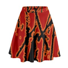 Vivid Abstract Grunge Texture High Waist Skirt