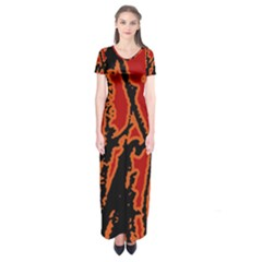 Vivid Abstract Grunge Texture Short Sleeve Maxi Dress