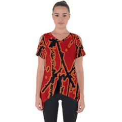 Vivid Abstract Grunge Texture Cut Out Side Drop Tee
