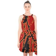 Vivid Abstract Grunge Texture Halter Collar Waist Tie Chiffon Dress