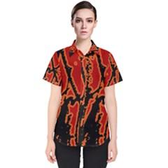 Vivid Abstract Grunge Texture Women s Short Sleeve Shirt