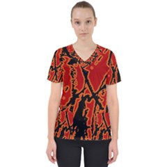 Vivid Abstract Grunge Texture Scrub Top