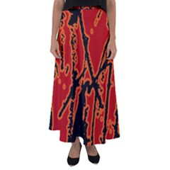 Vivid Abstract Grunge Texture Flared Maxi Skirt