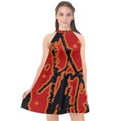 Vivid Abstract Grunge Texture Halter Neckline Chiffon Dress