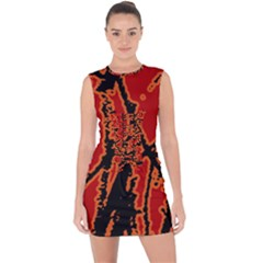 Vivid Abstract Grunge Texture Lace Up Front Bodycon Dress