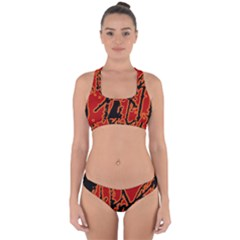 Vivid Abstract Grunge Texture Cross Back Hipster Bikini Set