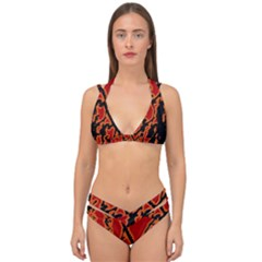 Vivid Abstract Grunge Texture Double Strap Halter Bikini Set