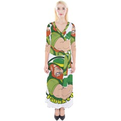 St  Patricks Day Quarter Sleeve Wrap Maxi Dress