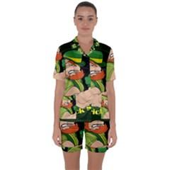 St  Patricks Day Satin Short Sleeve Pyjamas Set