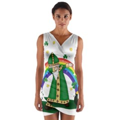 St  Patrick  Dabbing Wrap Front Bodycon Dress