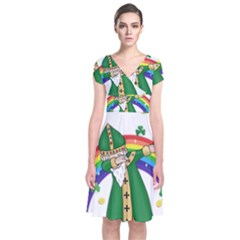 St  Patrick  Dabbing Short Sleeve Front Wrap Dress