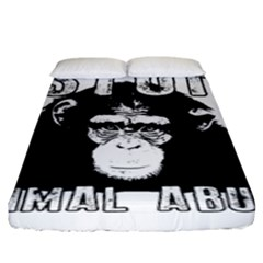 Stop Animal Abuse   Chimpanzee  Fitted Sheet (king Size)
