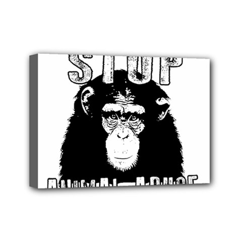 Stop Animal Abuse   Chimpanzee  Mini Canvas 7  X 5