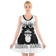 Stop Animal Abuse   Chimpanzee  V Neck Sleeveless Skater Dress