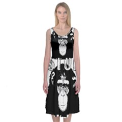 Stop Animal Abuse   Chimpanzee  Midi Sleeveless Dress