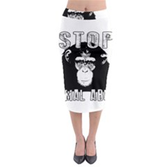 Stop Animal Abuse   Chimpanzee  Midi Pencil Skirt