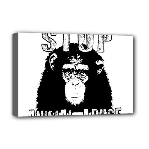 Stop Animal Abuse   Chimpanzee  Deluxe Canvas 18  X 12