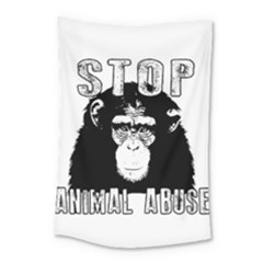 Stop Animal Abuse   Chimpanzee  Small Tapestry